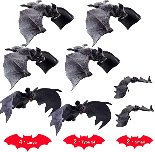 Pro-Noke 8 Pieces Rubber Realistic Bats Halloween Flying Bats Spooky Hanging Bats for Home D?cor or Halloween Party Favors, Haunted House Decoration (Black) 1