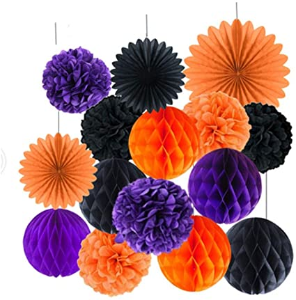 kungfu Mall 15 PCS Halloween Decorations Hanging Pom Poms Honeycomb Balls Garland Tissue Paper Fan Flower for Wedding Birthday Decorations Party Supplies(Black,Orange,Purple) 1