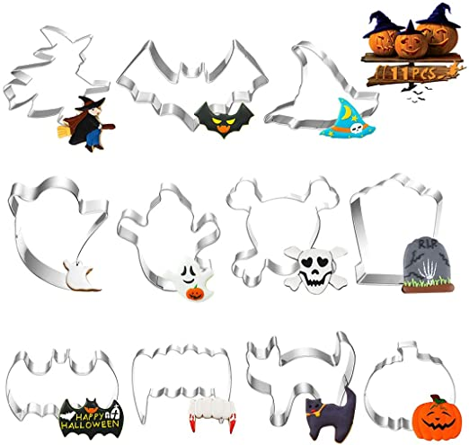 Halloween Cookie Cutters Set, 11 Piece Biscuit/Fondant/Pastry Cookie Cutter - Pumpkin Skull Ghost Cat Bat Witch's Hat Spider Shape Cutter for Kids Halloween Party Decorations- Stainless Steel 1