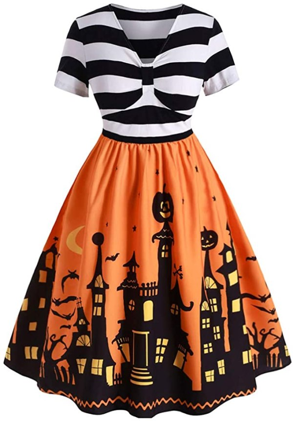 RoseGal Women's Vintage Plus Size Striped Halloween Skull Pumpkin Printed A-Line Dress 1