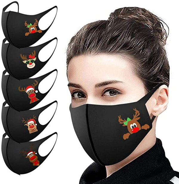 Pack of 5, Ice Silk Cotton Unisex Reusable Face Protection Washable Facial Skin Mouth Nose Shield Anti Smoke Pollution Bike Motorcycle Sport - Fine Christmas Halloween Print 1