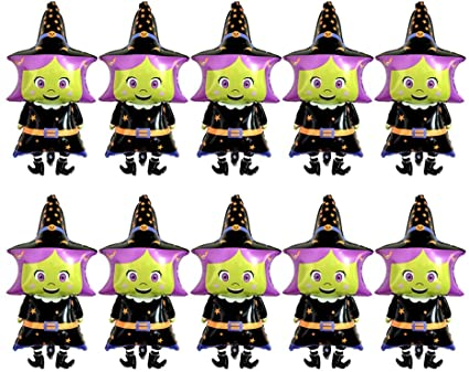 NUOBESTY Halloween Witch Foil Ballons,Halloween Balloons,Thanksgiving Day Mylar Balloon Party Decoration,10pcs 1