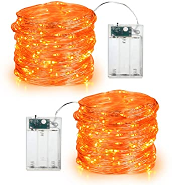 Orange Fall Lights, BrizLabs 2 Pack 19.68ft 60 LED Thanksgiving Decor Fairy String Lights Micro Silver Wire Firefly Lights Battery Operated Indoor Twinkle Lights for Autumn Halloween Christmas Party 1