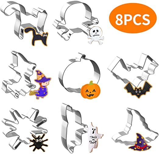 Halloween Cookie Cutters - Joyoldelf 8 Piece Biscuit Cookie Cutter - Pumpkin, Bat, Ghost, Cat, Witch, Spider, Skull, Witch Hat Stainless Steel Party Decorations 1