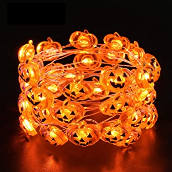 Moxled Halloween Decorations Lights, 40 Pumpkin String Lights Battery Powered, 13.5ft Halloween String Lights Flexible Copper Wire Jack-O-Lantern Lights for Party Decorations (Orange) 1