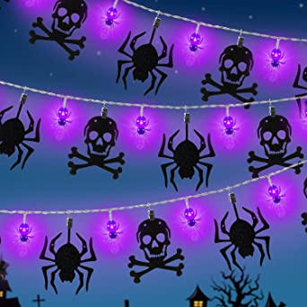 Halloween String Lights Decoration 9.8 Ft 12 Battery Operated LED Spider String Lights with Twinkle Skeleton Banner for Halloween Garden Indoor, Porch Outdoor Decorations 1