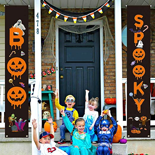 LioNergy Halloween Decorations Porch Sign Set - Boo & Spooky Halloween Welcome Banners Couplets for Front Door Wall Indoor Outdoor Home Office Decorations 1