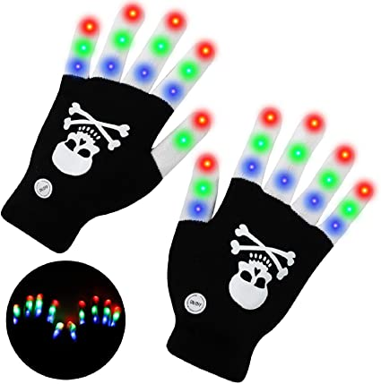 lenbest Halloween LED Gloves, Skull Light Up Hand Glow Flash Gloves Toy 3 Colors & 6 Modes, Halloween Festivals Gifts Toys for 3 5 8 10 12 Yeas old Kids Adults Boys Girls 1