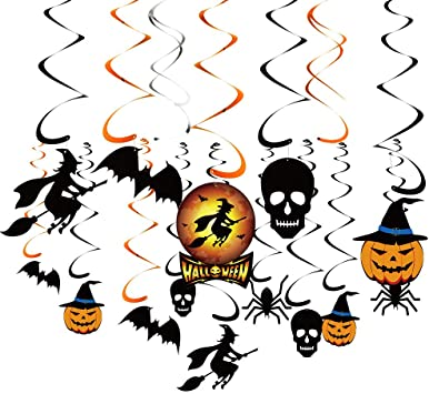 KUUQA 34 Pieces Halloween Party Hanging Swirl Decoration Scary Theme Ceiling Decorations Witches Bats Spider Skull Swirl Hanging Cards 1