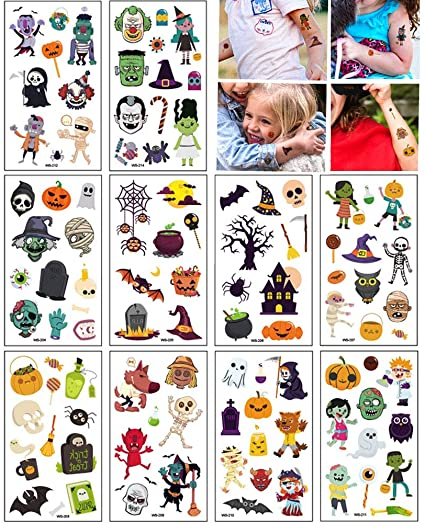 SHOKUTO 10 Sheets (100 Pcs) Halloween Tattoos for Kids, Halloween Temporary Tattoo Stickers for Boys and Girls Skull, Ghosts, Pumpkins, Vampire, Bats, Face Decals Halloween Party Decorations 1