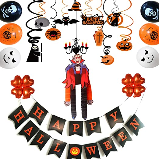 Halloween Party Decorations-Halloween Hanging Swirl Banner Balloons Paper Card Vampire for Halloween Party Supllies 1