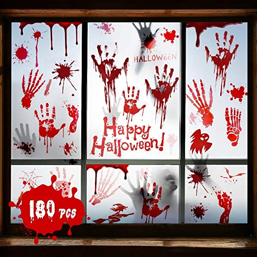 Halloween Decorations Halloween Window Stickers 180 PCS, Halloween Window Decoration Stickers Spooky Halloween Decorations Sticker 9 Sheets for Halloween Props, Halloween Party and Mystery Murder Game 1