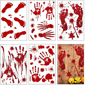 nuoshen 10 Sheets Halloween Bloody Handprint Footprints Stickers,Horror Home Decoration Bloody Splatter Decals for Halloween Party Supplies 1