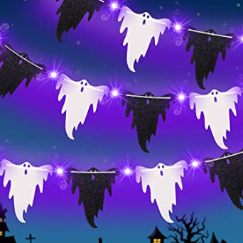 Halloween Lights with 11 Pieces Ghost Cards Decoration, 9.8 Ft 30 LED Lights 2 Modes Battery Halloween Lights for Halloween, Garden, Indoor and Outdoor Supplies (Purple Light, Black White Ghost Cards) 1