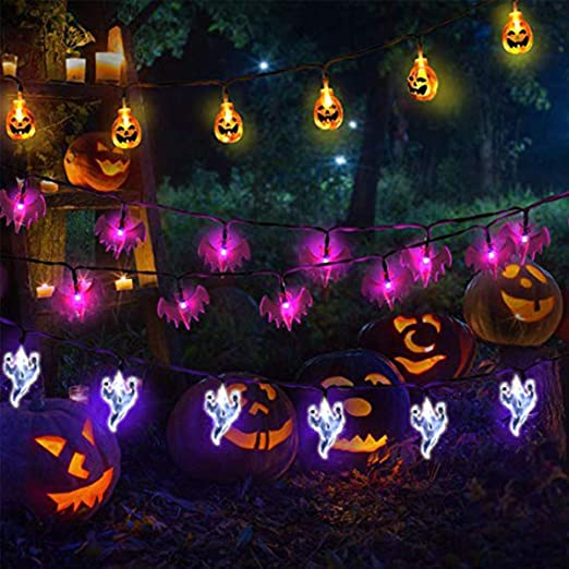 yizeda Halloween Lights Outdoor Halloween String Lights 3Pack 29ft 60 LED 3D Pumpkin Ghost Bat String Lights Battery Operated Halloween Decorations for Outdoor Indoor Halloween Party 1