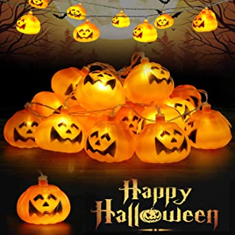 Runostrich Halloween Pumpkin String Lights, 9.8ft 20LEDs Halloween Christmas Decoration Fairy Light Hanging Lantern Indoor Outdoor Home Store Party 2 Modes Steady/Flash 1