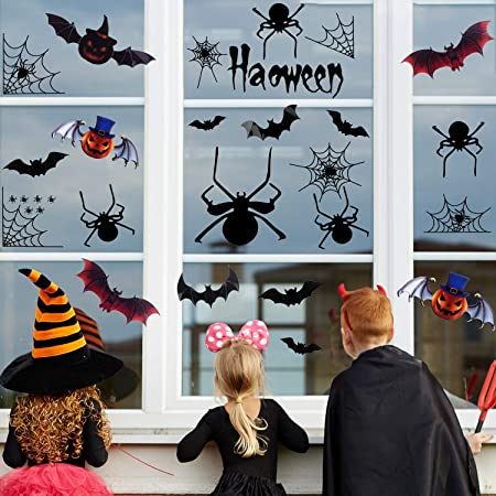 FEPITO Halloween Party Decoration New Decal Spider Web Decorations Black Spiders Decal Window Clings Wall Sticker DIY PVC 3D Decorative Bats Stickers,78 Pack 1