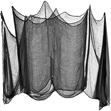 Vodtian 200 x 500 cm Black Creepy Cloth Scary Spooky Muslin Halloween Party Cover Gauze Decorations Supplies for Haunted House Door Hanger Windows Doorways Outdoors 1