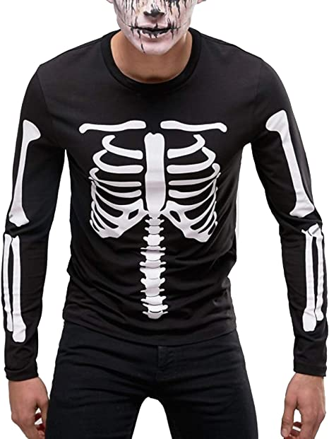 FunkyShirt Halloween Costume - Skeleton T Shirt - Skeleton Outfit - Skeleton Costume - Black Long Sleeved T-Shirt - Available in Mens Womens and Childrens Sizes 1