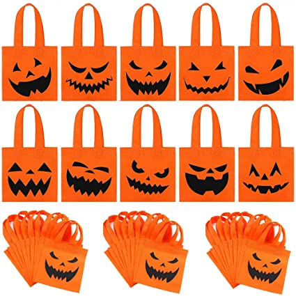 viccess 40pcs Party Bags With Handles Halloween Non-Woven Bags Gift Tote Bags Toy Candy Bags Pumpkin Bags For Kids Party Favors 1