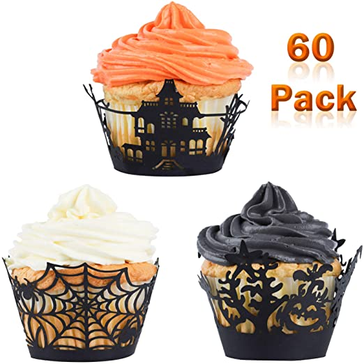 Whaline 60 Pack Halloween Cupcake Wrappers Spiderweb/Witch/Castle Laser Cut Paper Liners Holders for Halloween Party Wedding Birthday Decoration (Black) 1