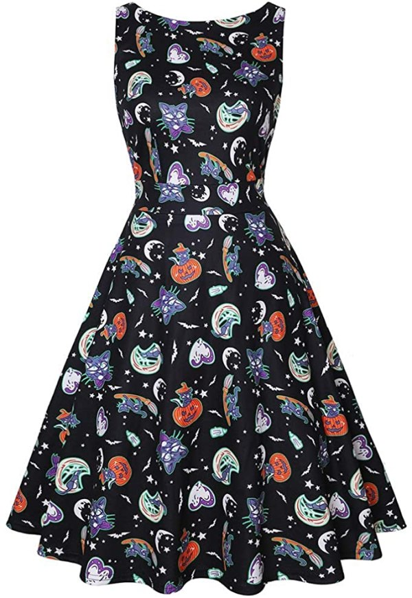 Owin Women's Floral 1950s Vintage Swing Cocktail Party Dress with Butterfly Pattern 1
