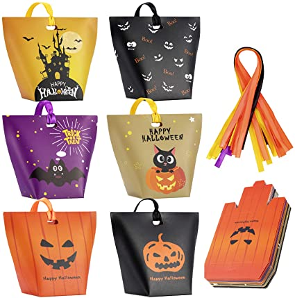 Halloween Candy Bags Treat Bags-30 Pack Paper Halloween?Bags Trick or Treat Goody?Bags Halloween?Sweet Goodie?Bags Halloween Party Favors Gift Bags for Kids Halloween Party Supplies Decorations 1