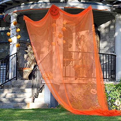 willkey Halloween Decoration Hanging Ghost Scary Witch Curtain for Outdoor Party Room Haunted House (orange) 1