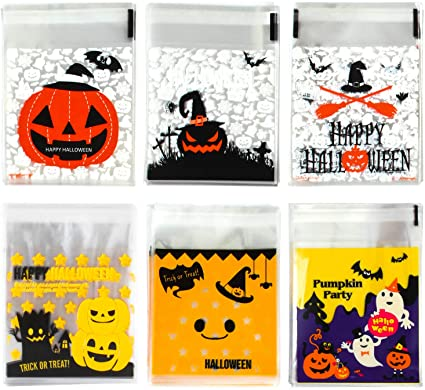 Elcoho 300 Pieces Halloween Candy Bags Self Adhesive Clear Cookie Bags Trick Cellophane Treat Bags for Party Gift Supplies, 6 Styles (Set A) 1