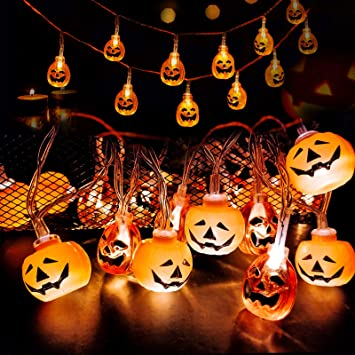 LISOPO 2pcs Halloween String Lights 20 Led Pumpkin Fairy Light for Halloween Party Indoor Outdoor Home Festival Decoration 1