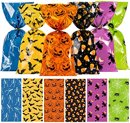 Whaline 150Pcs Halloween Cello Bags Cellophane Bags 6 Design with Twist Tie Candy Treat Bags Sweet Bags Pumpkin Spider Bat Bone Gift Bags Orange Party Favors for Halloween Day Table Decor 1
