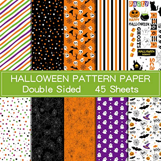 ASTARON 45 Sheets Halloween Pattern Paper Set 8.2 x 11 inches Decorative Paper for Paper Craft Decoration, 10 Styles 1