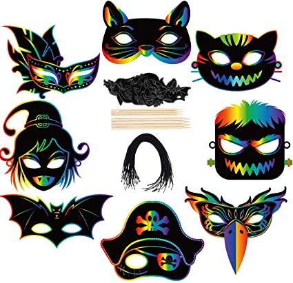 Cooraby 8 Set Colorful Scratch Art Mask Halloween DIY Magic Scratch Paper Masks for Halloween Party and Classroom Scratch Art DIY Crafts Kit 1