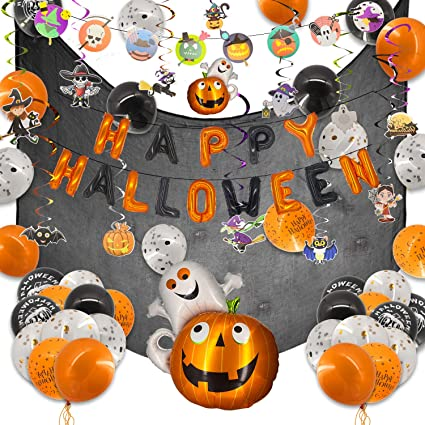 ECHOAN 65 Pcs Halloween Party Decoration, Halloween Happy Balloons, Pumpkin and Ghost Hanging Swirl Party Decorations,with Spider Web 1.65 * 2 Meter 1