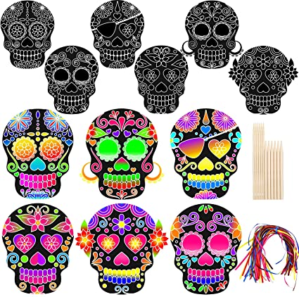 Cooraby 12 Pack Halloween Scratch Paper Art Set Colouring Decompression Toys Magic Scratch off Arts Crafts for Halloween Decoration 1