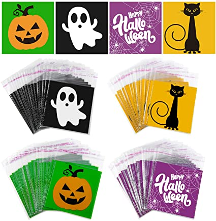 URATOT 200 Pack Halloween Candy Bags Clear Self Adhesive Snacks Bags Halloween Trick or Treat Bags Halloween Party Favors Candy Cookie Bags 1