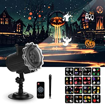 Qxmcov Halloween Christmas Projector Lights, LED Projector Lamp with 16 Switchable Patterns, Waterproof Light Projector for Christmas Party Garden House Home Patio Decorations (UK Plug) 1