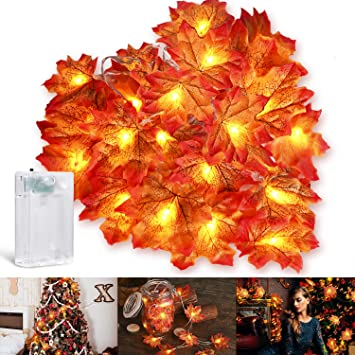 Chefic Maple Leaves Fall Decoration Lights 3M 20 LED, Artificial Autumn Fall Garland String Lights Fairy Lights, Battery Operated Outdoor Indoor Decorations for Halloween Thanksgiving Festival Party 1