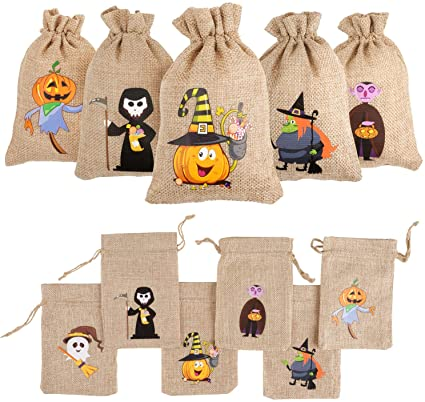 DERAYEE 12 Pieces Line Jute Drawstring Gift Bag Halloween Party Bag Candy Pouch Snack Sack for Kids Halloween Party Favors 1