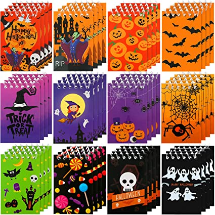 48 Pieces Halloween Mini Notepads Mini Spiral Notebooks Pumpkin Pattern Notebooks Halloween Memo Pad Notebooks for Halloween Party Home School Supplies, 12 Styles (Quantity of Each Style is Random) 1