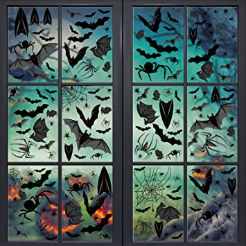 Whaline 113Pcs Halloween Window Clings Static Wall Stickers Black Bat Spider Web Decals Waterproof PVC Stickers for Halloween Party Home Window Wall Glass Mirror Decoration (4 Sheets) 1
