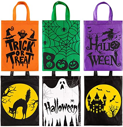Whaline Halloween Trick or Treat Bags Non-Woven Tote Gift Bags 6 Pack Skull Pumpkin Web Spider Witch Candy Bags Reusable Goodie Treat Bags with Handle for Halloween Party Favors, 12 x 15 Inch 1
