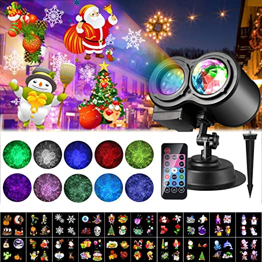 2020 Christmas Halloween Projector LED Lights, 20 Slides ALED LIGHT LED Projector Lamp Double Projection Light Waterproof Outdoor Water Wave Projector Light with Remote Control for Party, Birthday 1