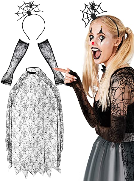 Halloween Women's Spider Web Costume, Spider Web Poncho Lace Spider Texture Sleeve Spiderweb Hair Hoop for Party Costume 1