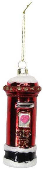 8cm Red Glass Letterbox Christmas Tree Decoration 1