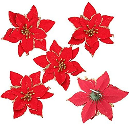 12pieces Christmas Glitter Red Poinsettia with Clips 1