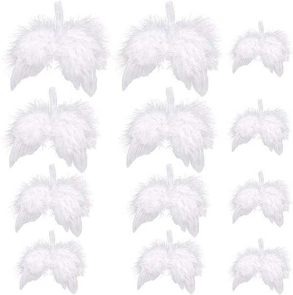 12 PCS Feather Wings Hanging Christmas Tree Angel 1