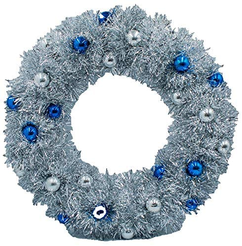 40cm Silver Tinsel Wreath with Mini Baubles 1