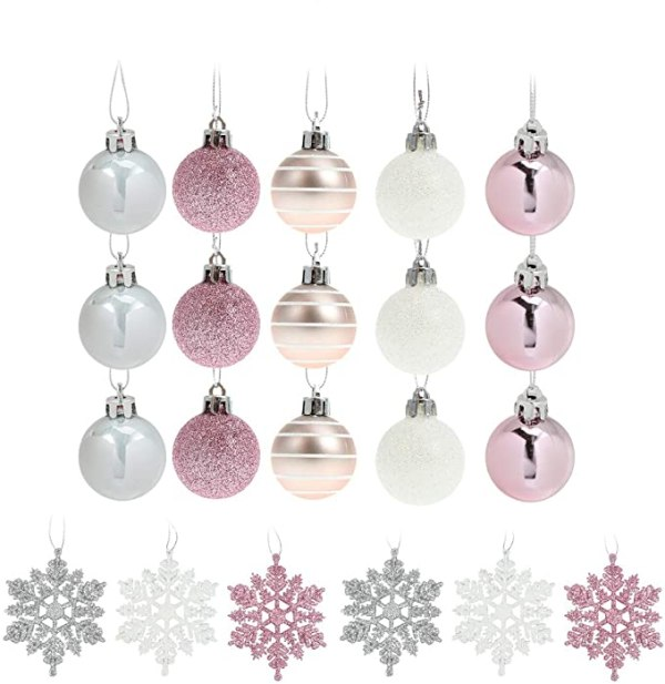 24Pcs Silver Pink Christmas Decorations Xmas Tree Baubles 1