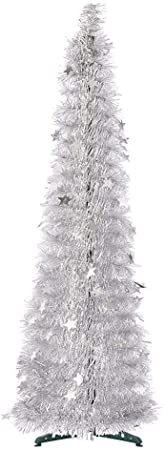 5ft Collapsible Christmas Tinsel Tree Sliver 1